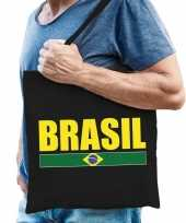 Goedkope katoenen brazilie supporter tasje brasil zwart