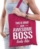Goedkope katoenen cadeau baas tasje awesome boss fuchsia roze