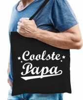 Goedkope katoenen cadeau tasje coolste papa zwart