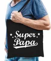 Goedkope katoenen cadeau tasje super papa zwart