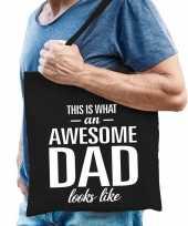 Goedkope katoenen cadeau vader tasje awesome dad zwart
