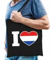 Goedkope katoenen holland tasje i love nederland zwart