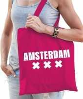 Goedkope katoenen holland wereldstad tasje amsterdam roze