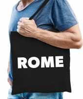 Goedkope katoenen italie wereldstad tasje rome zwart
