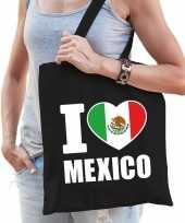 Goedkope katoenen mexicaans tasje i love mexico zwart
