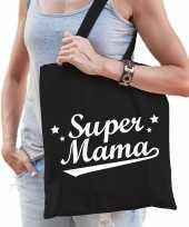 Goedkope katoenen moeder cadeau tasje super mama zwart