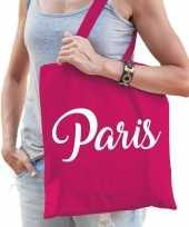 Goedkope katoenen parijs wereldstad tasje paris roze