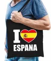 Goedkope katoenen spanje tasje i love espana zwart