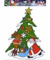 Goedkope kerst raamsticker kerstman rendier