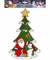 Goedkope kerst raamsticker kerstman sneeuwpop