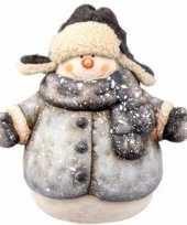 Goedkope kerst sneeuwpop beeldje jas