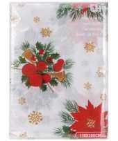 Goedkope kerst thema tafelkleed wit kerststukjes