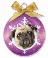 Goedkope kerstboom decoratie kerstbal hond mopshond