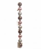 Goedkope kerstboom decoratie kerstballen mix bruin roze stuks