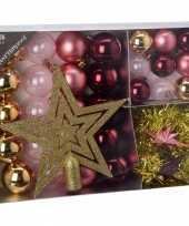 Goedkope kerstboom decoratie set roze candy classics