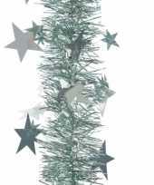 Goedkope kerstboom sterren folie slinger mintgroen