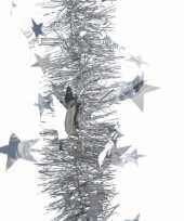 Goedkope kerstboom sterren folie slinger zilver 10082691