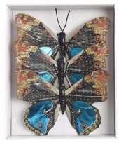 Goedkope kerstboom versiering vlinders blauw type