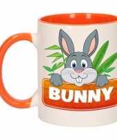 Goedkope kinder konijnen mok beker bunny oranje wit