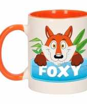 Goedkope kinder vossen mok beker foxy oranje wit