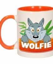 Goedkope kinder wolven mok beker wolfie oranje wit