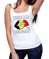 Goedkope kiss me i am belgian tanktop mouwloos shirt wit dames