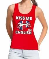 Goedkope kiss me i am english tanktop mouwloos shirt rood dames