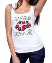 Goedkope kiss me i am english tanktop mouwloos shirt wit dames