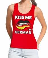 Goedkope kiss me i am german tanktop mouwloos shirt rood dames