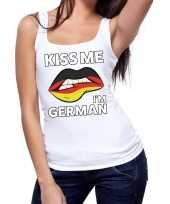 Goedkope kiss me i am german tanktop mouwloos shirt wit dames