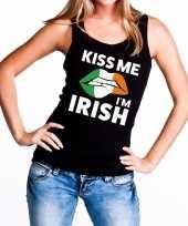 Goedkope kiss me i am irish tanktop mouwloos shirt zwart dames