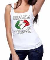 Goedkope kiss me i am italian tanktop mouwloos shirt wit dames