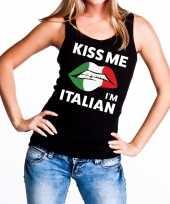 Goedkope kiss me i am italian tanktop mouwloos shirt zwart dames