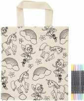 Goedkope kleurset tasje eenhoorns textielstiften