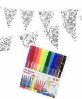 Goedkope knutsel papieren vlaggenlijn om te kleuren m incl stiften