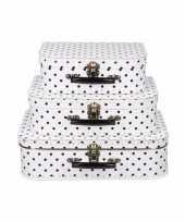 Goedkope koffertje wit zwarte stippen 10090168
