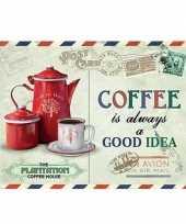 Goedkope koffie retro muurplaat coffee is always a good idea