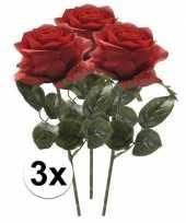 Goedkope kunstbloem roos simone rood stuks
