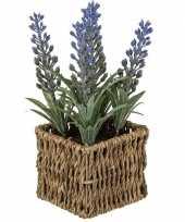 Goedkope kunstplant paarse lavendel rieten mandje