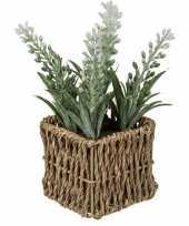 Goedkope kunstplant witte lavendel rieten mandje