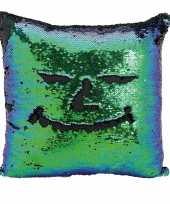 Goedkope kussen blauw groen metallic pailletten
