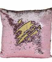 Goedkope kussen roze metallic pailletten