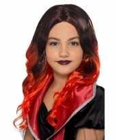Goedkope lange zwart rode meisjespruik krullen