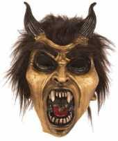 Goedkope latex horror masker duivel goud