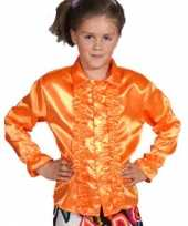 Goedkope luxe oranje rouches blouse kinderen