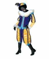 Goedkope luxe roetveeg pieten kostuum geel blauw dames heren