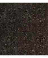 Goedkope luxe servetten barok patroon zwart laags stuks