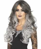 Goedkope luxe tweekleurige grijze damespruik lang haar