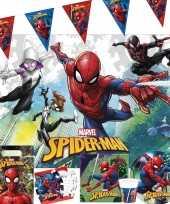Goedkope marvel spiderman kinderfeest tafeldecoratie pakket personen 10150775