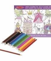 Goedkope meisjes prinsessenboek kleurpotloden set